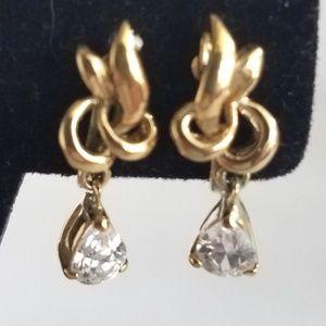 Vintage Goldtone Rhinestone Clip-on Earrings